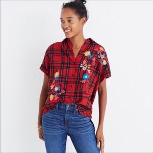 Madewell Plaid Floral Embroidered Short Sleeve Top